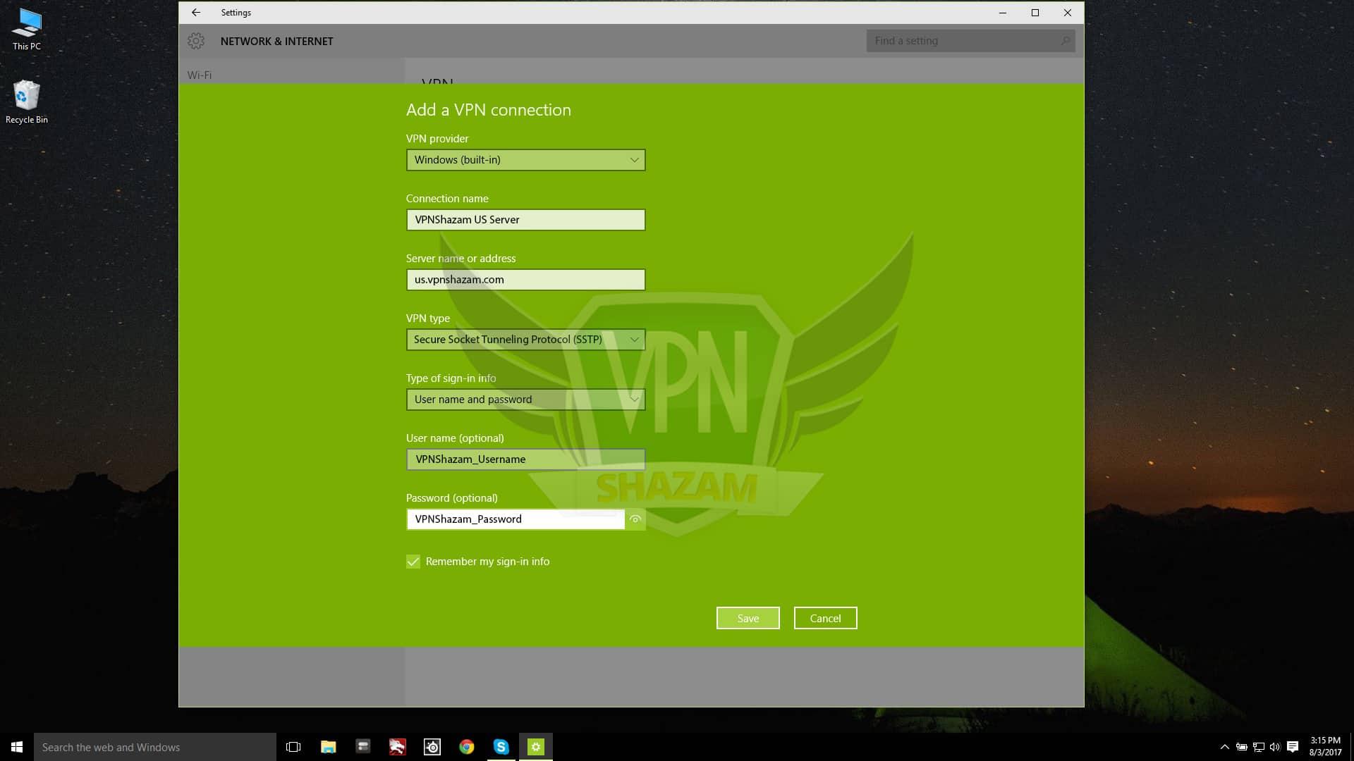 SSTP on windows 10 step3
