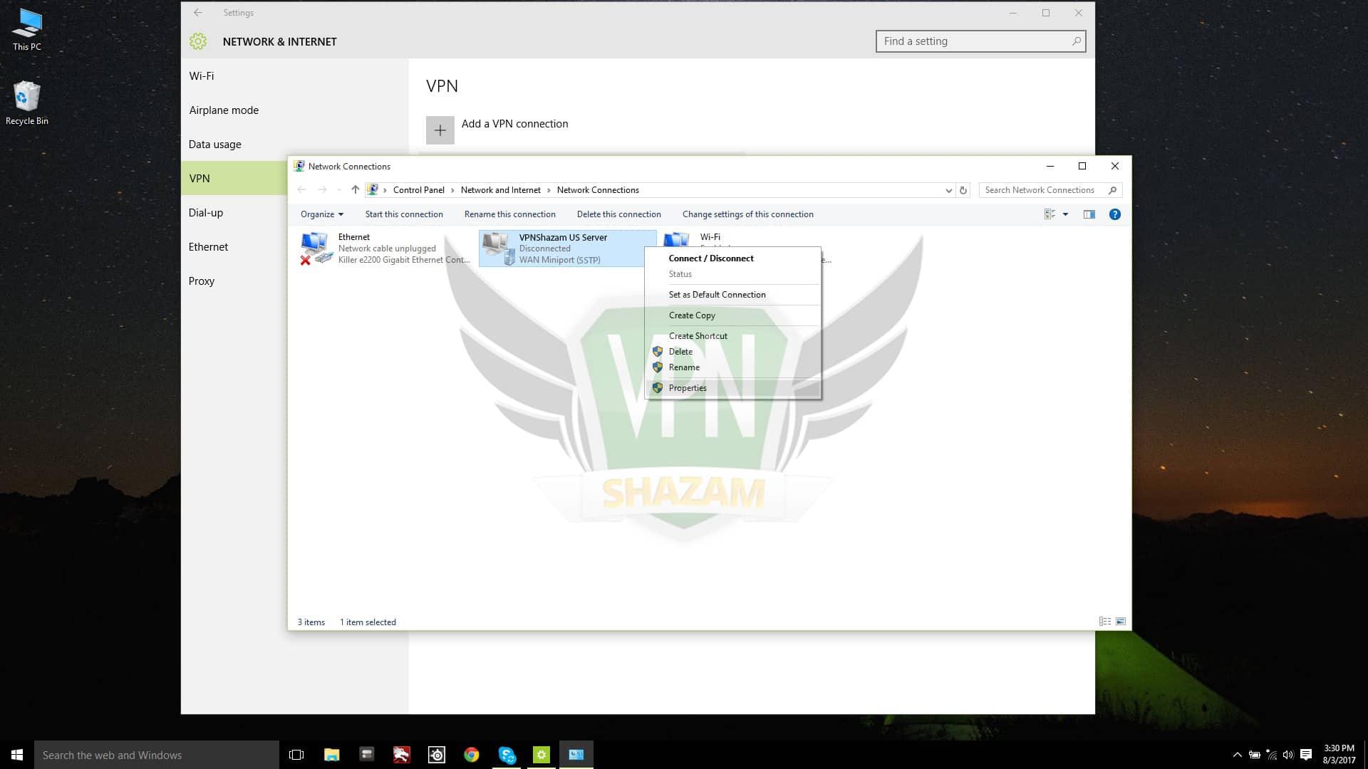 SSTP on windows 10 step5